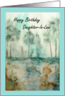 Happy Birthday Daughter In Law, Abstract Art Landscape, Trees Painting card