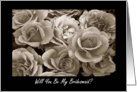 Cousin Bridesmaid Request Sepia Roses Bouquet card