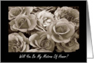 Cousin Matron Of Honor Request Sepia Roses Bouquet card