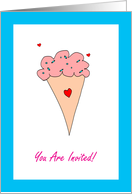 Tween Birthday Party Invitation, You Are Invited, Ice Cream Cone card