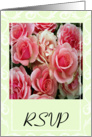 RSVP Wedding - Pink Roses On Green card