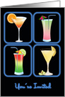 Four Cocktails in Blue Neon Windows YOU ARE INVITED card