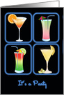 Four Cocktails in Blue Neon Windows PARTY card