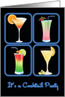 Four Cocktails in Blue Neon Windows COCKTAIL PARTY card