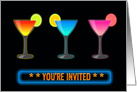 Three Glasses Filled with Neon Colored Cocktails and Neon Sign INVITED card