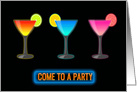 Three Glasses Filled with Neon Colored Cocktails and Neon Sign PARTY card