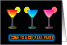 Three Glasses with Neon Colored Cocktails and Neon Sign COCKTAIL PARTY card