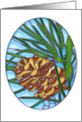 Winter Pinecone in Stained Glass Style card