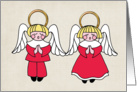 Christmas, Blonde Boy & Girl Angels, Red Robes card