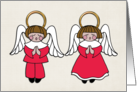 Christmas, Dark Haired Boy & Girl Angels, Red Robes card