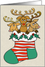 Christmas Stocking Stuffed Reindeer Trio with Copper Look Antlers card