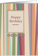 Birthday Stripes with stitched greetings and 3D metallic accents card