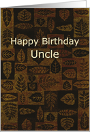 Leaf Squares Birthday Uncle card