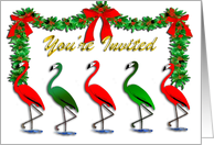 Christmas Flamingo Rockettes card