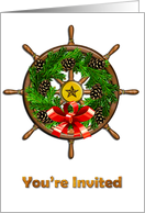 Nautical Christmas Ship's Wheel Invitation card
