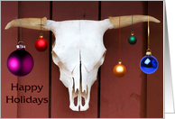 Cow Skull with Christmas Balls Decoration Happy Holidays card