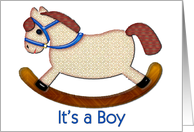 Blue Child's Rocking Horse It's a Boy card