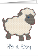 Blue Little Lamb Applique It's a Boy Adoption card