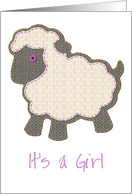 Pink Little Lamb Applique It's a Girl Adoption card
