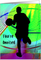 Basketball on a Psychedelic Court Invitation card