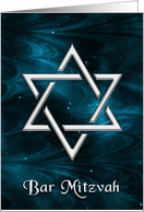 Blue Nebulae Silver Star of David Bar Mitzvah Invitation card
