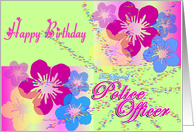 Happy Birthday Police Officer Hawaii retro hot pink tropical flowers Los Cabos Art Veterinarian Birthday Card