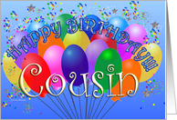 Happy Birthday Cousin Cheerful Colorful Party Balloon birthday bunch confetti celebration card