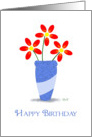 Happy Birthday : Three Red Flowers card