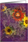 Autumn Season - Smiling Pumpkin With Sunflowers card