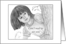 Can't Wait To See You - Girl Behind Tree Pencil Drawing card