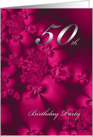 Silky Flowers, 50th birthday invitation card
