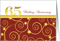 65th wedding anniversary invitation, golden swirls on red and white card