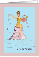 Weight Loss Bathing Beauty with Flowers card