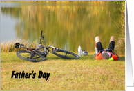 Father's Day, Relaxing by the Pond. Bicycling. card