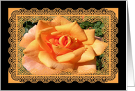 Birthday for Mom, Orange Rose with Lace Look Border, From Children card