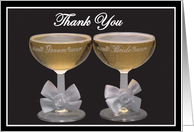 Wedding thank you (bride and groom champagne glasses) card