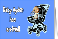 Baby Ayden has arrived announcement card