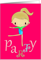 Gymnastics birthday party invitation card