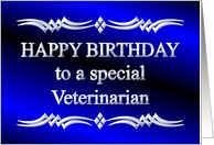 Happy Birthday Veterinarian Blue and Silver card