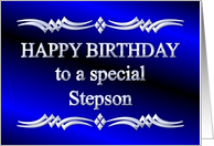 Happy Birthday Stepson Blue and Silver card