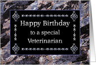 Happy Birthday Veterinarian Marble Black and Silver card