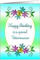 Happy Birthday Veterinarian Shiny Flowers card