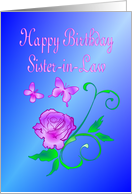 Sister-in-Law Birthday Butterflies and Flower card
