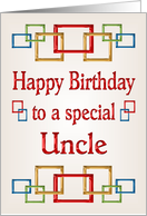 Happy Birthday Uncle, colorful links card