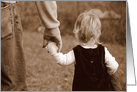 Little Girl Holds Her Father's Hand Blank Notecard card