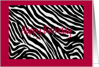 Zebra Print Happy Birthday card