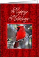 Happy Holidays Cardinal and Holly card