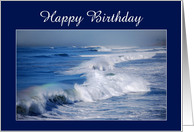 Happy Birthday Rainbow Over Ocean Waves card