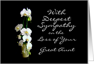 Deepest Sympathy Great Aunt White Orchids card