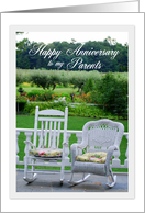 Parents Happy Anniversary Vintage Rocking Chairs card